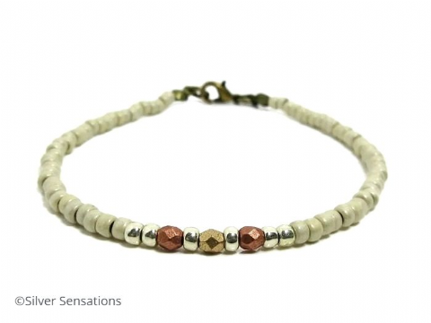 Matte Cream & Copper Seed Bead Layering Fashion Bracelet